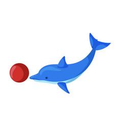 Dolphin with ball iconcartoon icon vector