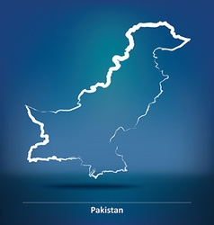 Doodle Map of Pakistan vector