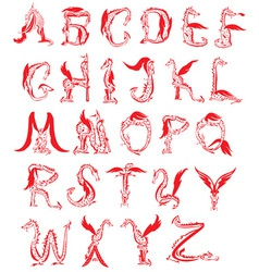 dragon alphabet fantasy dragon font vector image