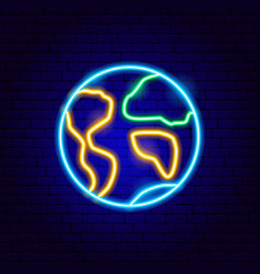 earth neon sign vector image