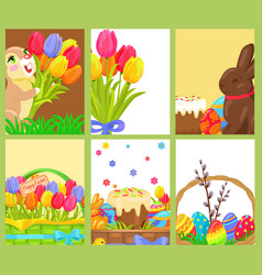 easter openings chocolate bunny colored egg tulips vector image