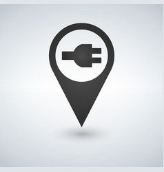 Electric charge station map pointer pin vector