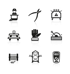 Electrician equipment icons vector image