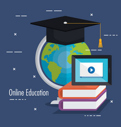 electronic education with tablet vector image