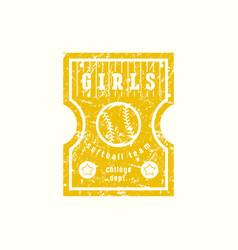 Emblem of softball girls team vector