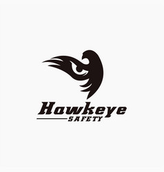 eye and flying hawk logo icon template vector image