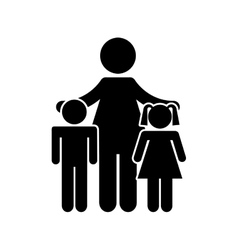 family parents silhouette isolated icon vector image