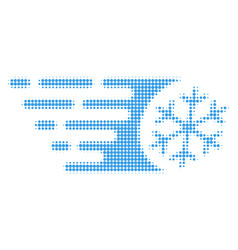 Fast freezing halftone dotted icon vector