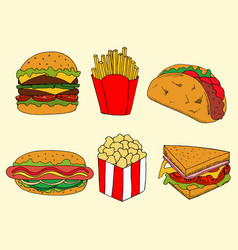 fastfood in cartoon style for menu design vector image