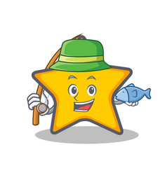 Fishing star character cartoon style vector