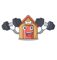 Fitness cartoon funny dog house with dish vector