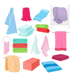 Flat set of cartoon towels in vector