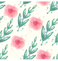 Floral seamless pattern with watercolor vector