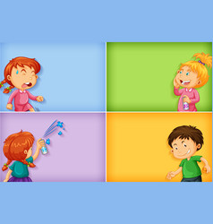 Four background template designs with boy and vector