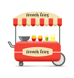 french fries food cart colorful image vector image