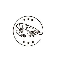 fresh shrimp icon vector image