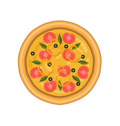 freshly baked pizza with tomato basil and olives vector image