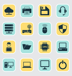 Gadget icons set collection of dossier database vector