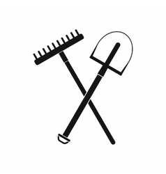 Gardening tools icon black simple style vector image