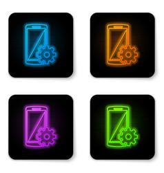 glowing neon setting on smartphone screen icon on vector image
