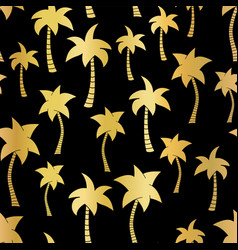 golden palm trees seamless pattern on black vector image