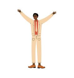 Guy stands raising his hands up cartoon vector