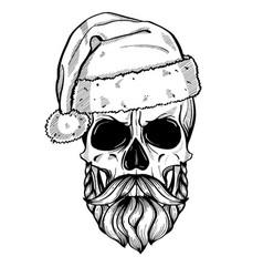 Hand drawn angry skull of santa claus vector