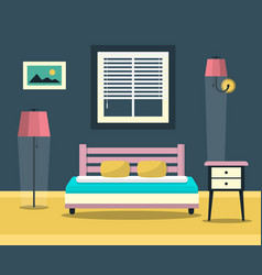 hotel room - interior with bed furniture and vector image
