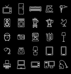 Household line icons on black background vector