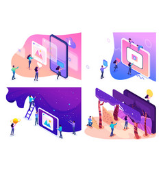 isometric concepts creative young people vector image