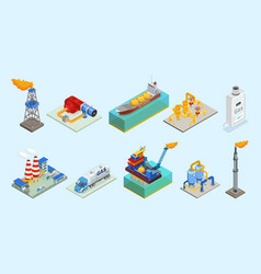 Isometric natural gas industry elements set vector