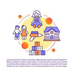 Kids children camp kindergarten article page vector