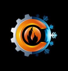 Logo concept gear and fire flame sign warm vector