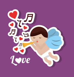 love cupid holding trumpet music romantic violet vector image