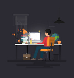 man working with pc at his work desk vector image