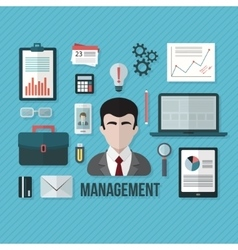 Management concept with objects and devices vector