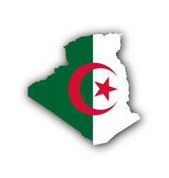 map and flag of algeria vector image
