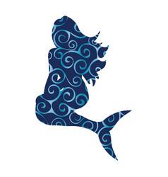 Mermaid siren pattern silhouette ancient mythology vector