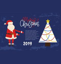 merry christmas festive picture postcard santa vector image