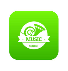 musical instrument trumpet icon green vector image