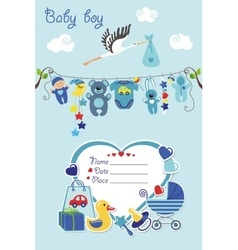 New born baby boy card shower invitation vector