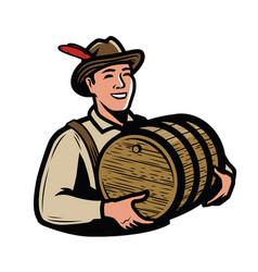 oktoberfest beer festival symbol man with wooden vector image