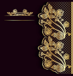 Ornate vintage dark background with golden lace vector image