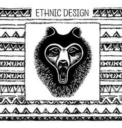 Pattern with bear face Black and white colors vector image