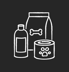 pet care chalk white icon on black background vector image