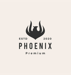 Phoenix fire hipster vintage logo icon vector