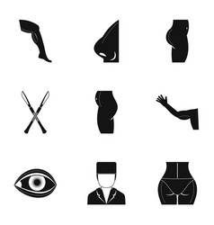 Plastic surgery icon set simple style vector
