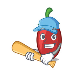 Playing baseball goji berries character cartoon vector