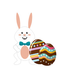 Rabbit easter with bow tie and decorated eggs vector