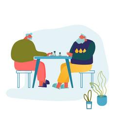 Relaxing senior men playing chess in nursing home vector